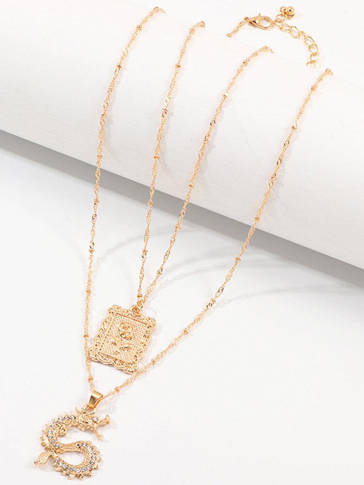 Vintage Alloy Rose Flower Colgante Juego de collar con forma de dragón chino de diamantes
