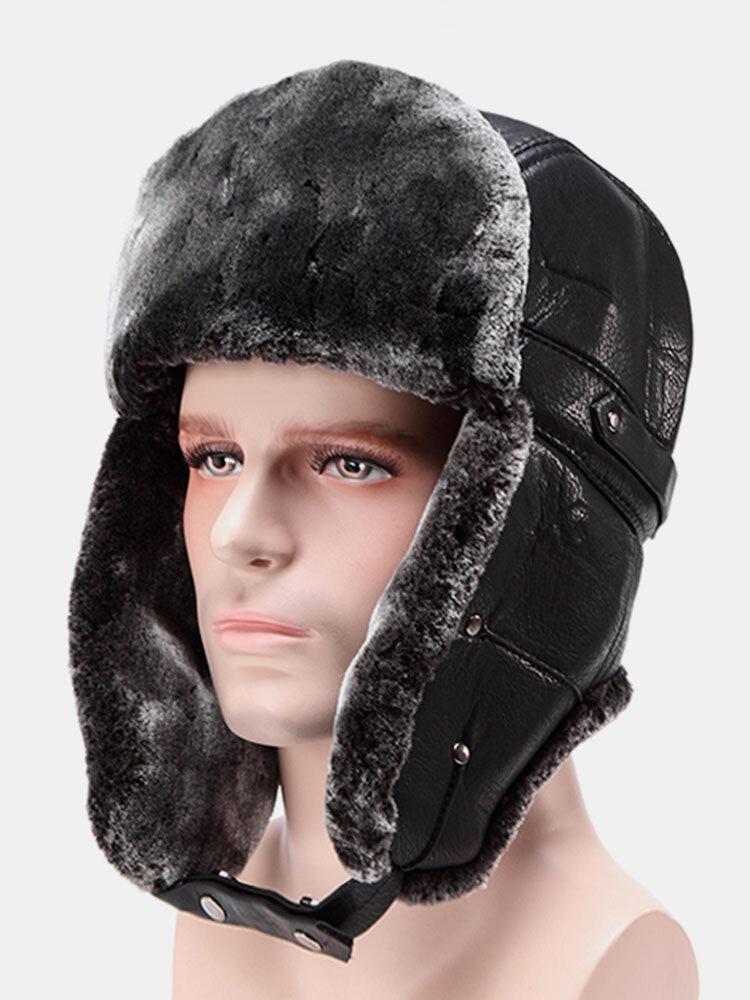 Men Women Outdoor Snow Earmuffs Lei Feng Cap Flat Snow Thick Hats