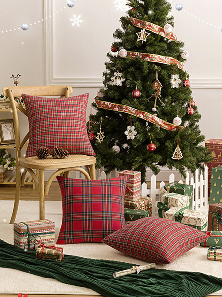 1Pc Christmas Plaid Pillowcase Simple Geometric Pattern Pillowcase Sofa Cushion Cover