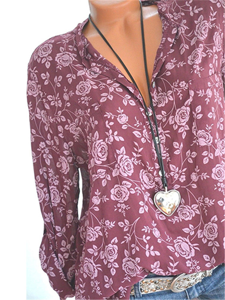 Women Floral Print V-neck Long Sleeve Shirts