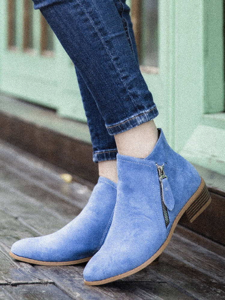 Plus Size Women Casual Chelsea Zipper Chunky Heel Short Single Boots