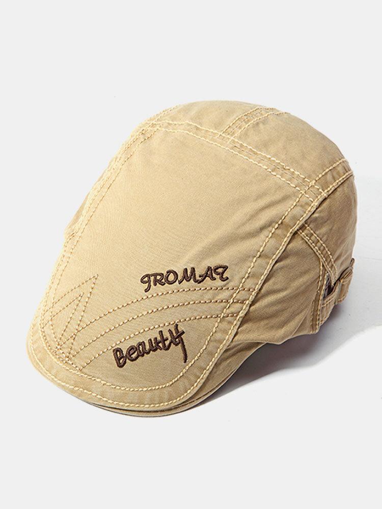 Men Autumn Stripes Sunshade Cotton Beret Cap Travel Letter Embroidered Peaked Cap Adjustable Hat