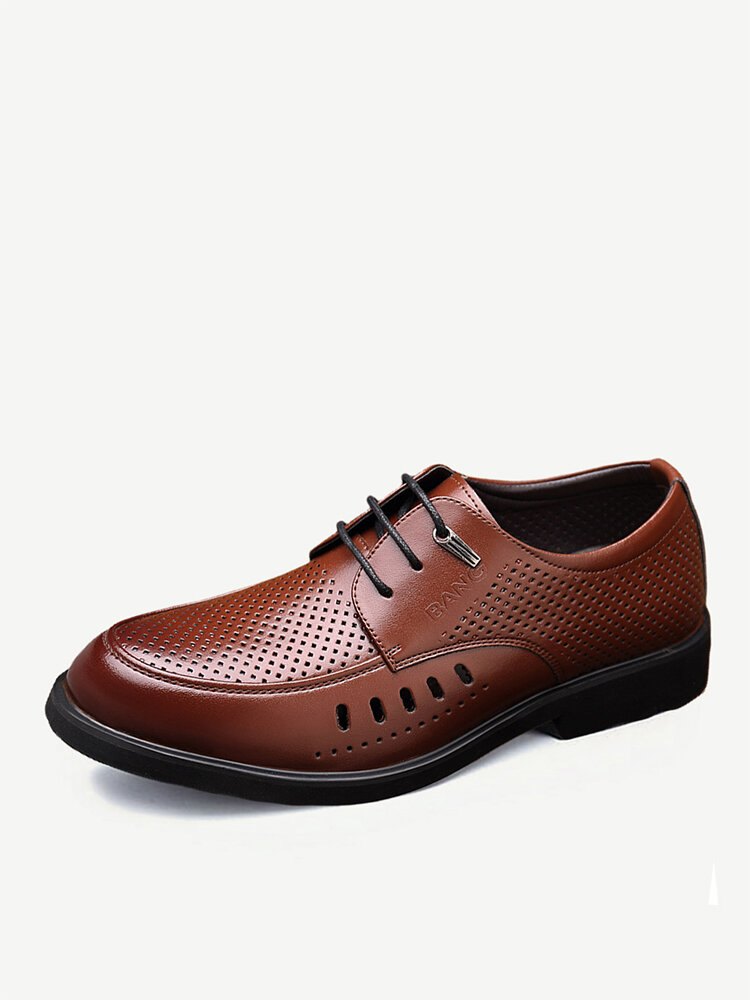 Men Hollow Out Breathable Comfy Lace Up Business Casual Formal Shoes