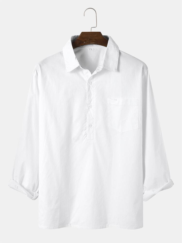 Mens Solid Lapel Half Button Pocket Basics Long Sleeve Shirts