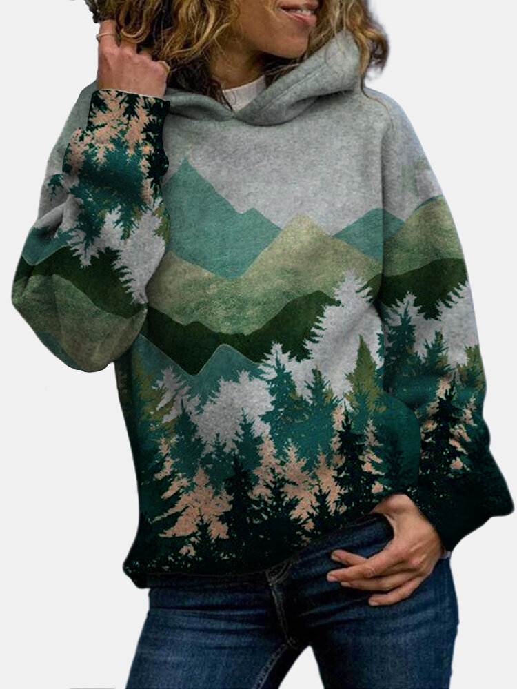 Landscape Printed Long Sleeve Casual Hoodie For Women