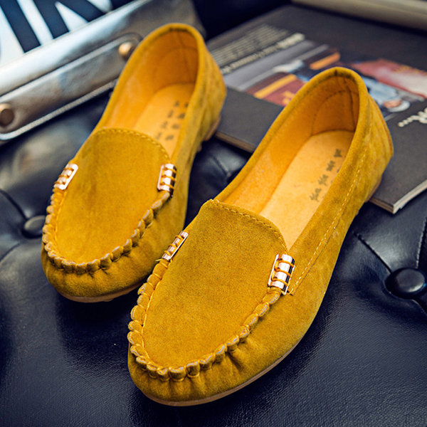 Metal Buckle Flat Portable Soft Colour Loafers For Women