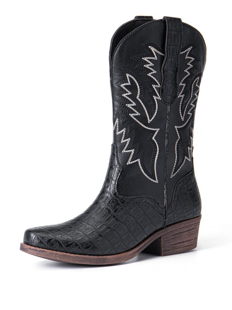 Lostisy Women Retro Embroidered Ethnic Pattern Veins Mid Calf Cowboy Boots