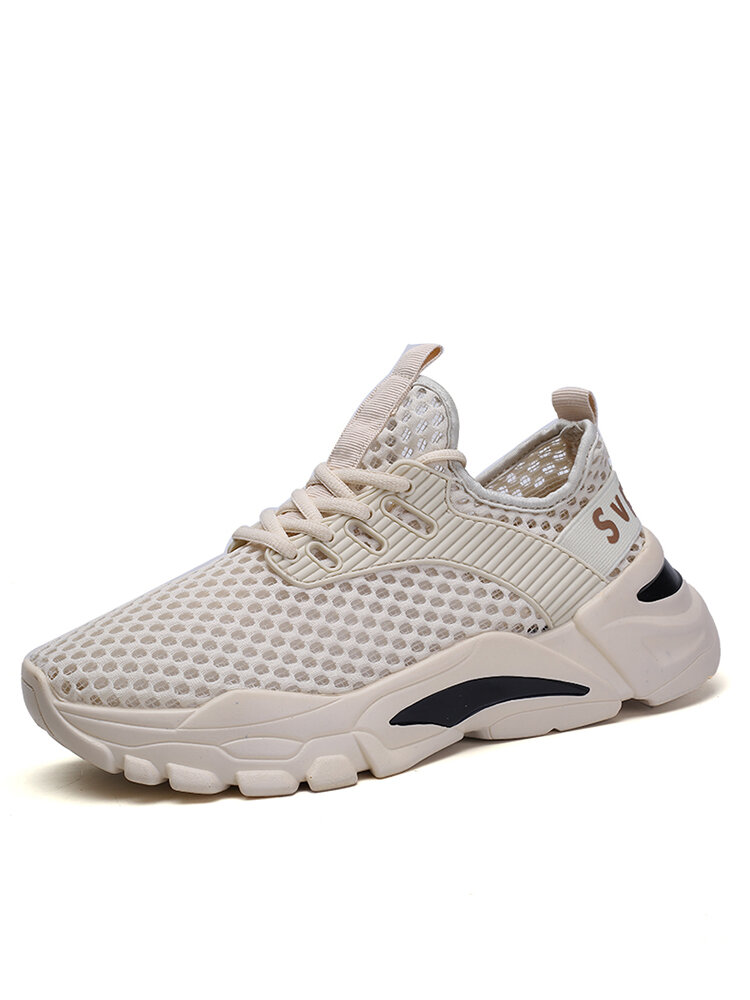 Men Mesh Fabric Breathable Lace Up Sport Casual Sneakers