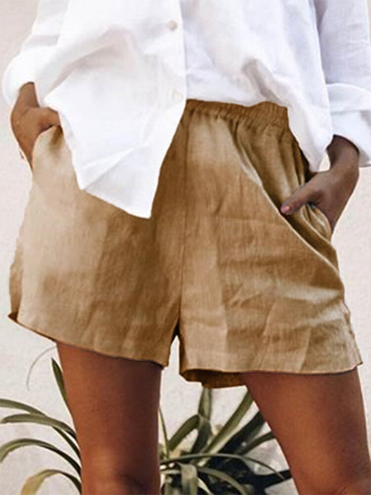 Solid Color Elastic Waist Shorts For Women