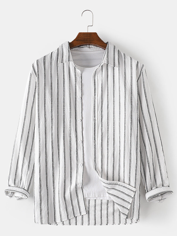Mens 100% Cotton Vertical Stripe Loose Fit Long Sleeve Casual Shirts