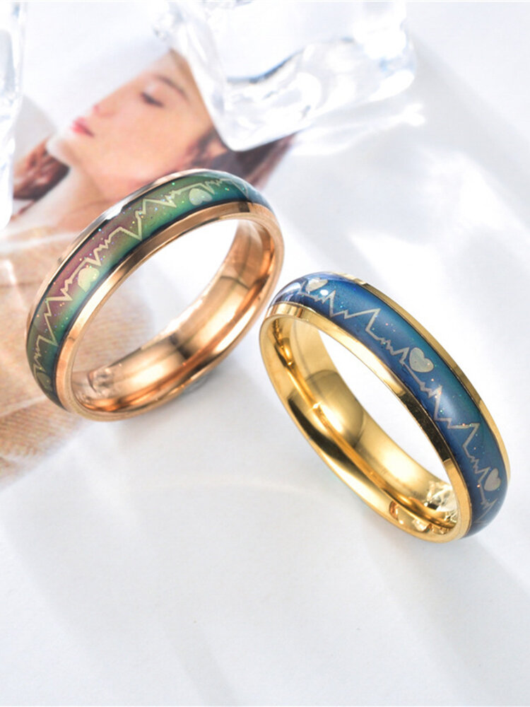 Simple Titanium Steel Color Changing Couple Ring Emotional Feeling Warm Electrocardiogram Ring Valentine's Day Gift