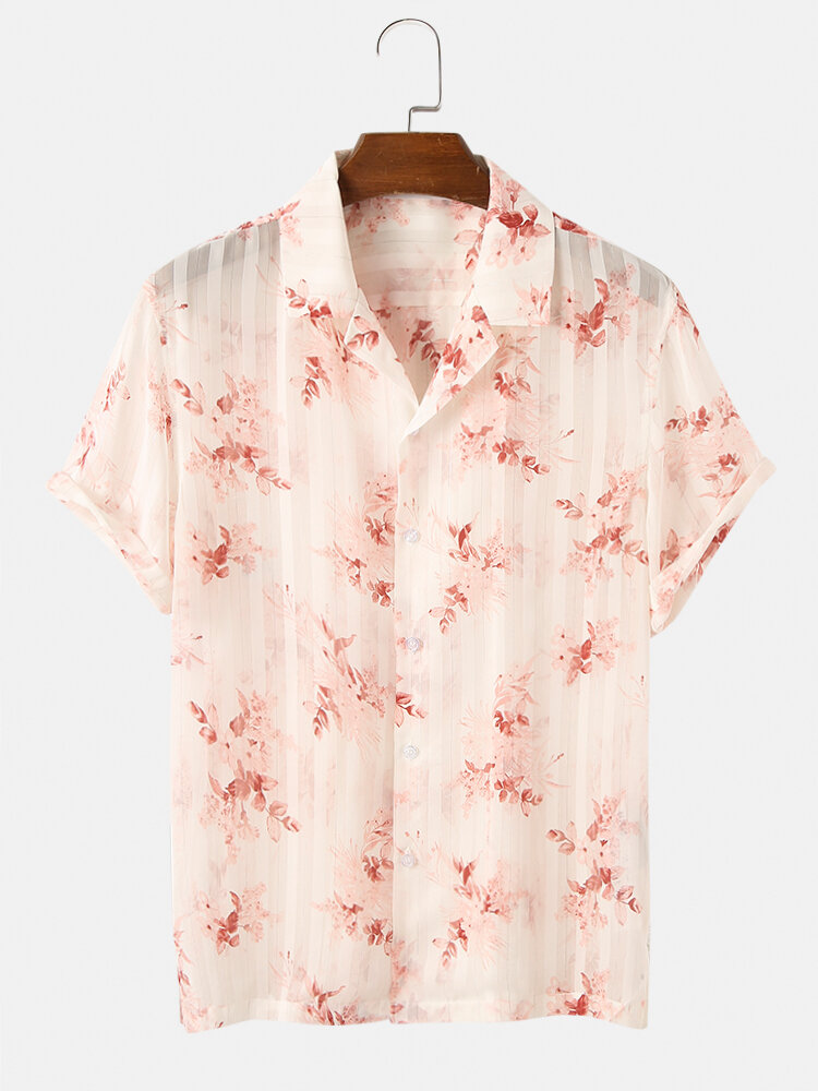 Mens Floral & Stripe Pattern Holiday See Through Button Down Mesh Sheer Shirts