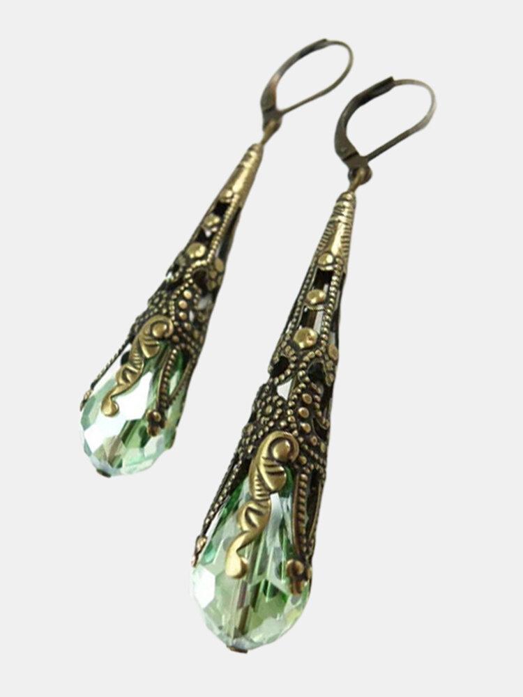 Vintage Crystal Earrings Luxury Metal Hollow Carving Water Drop Pendant Earrings