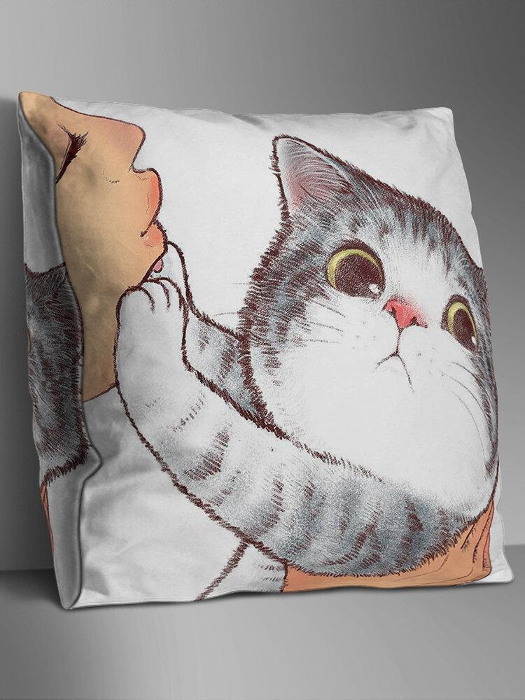Double-sided Cartoon Cat Cushion Cover Home Sofa Office Soft Throw Pillowcases Art Decor