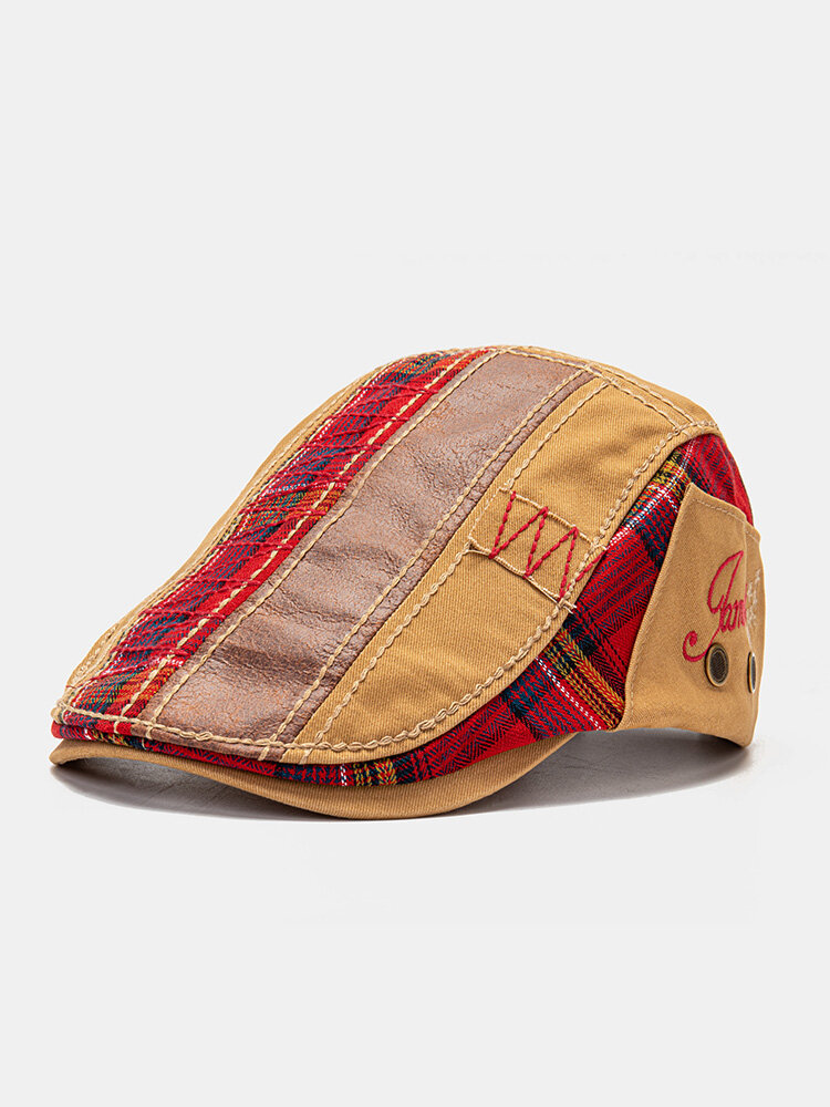 Unisex Patchwork Letter Pattern Embroidery Casual Vintage Beret Flat Cap
