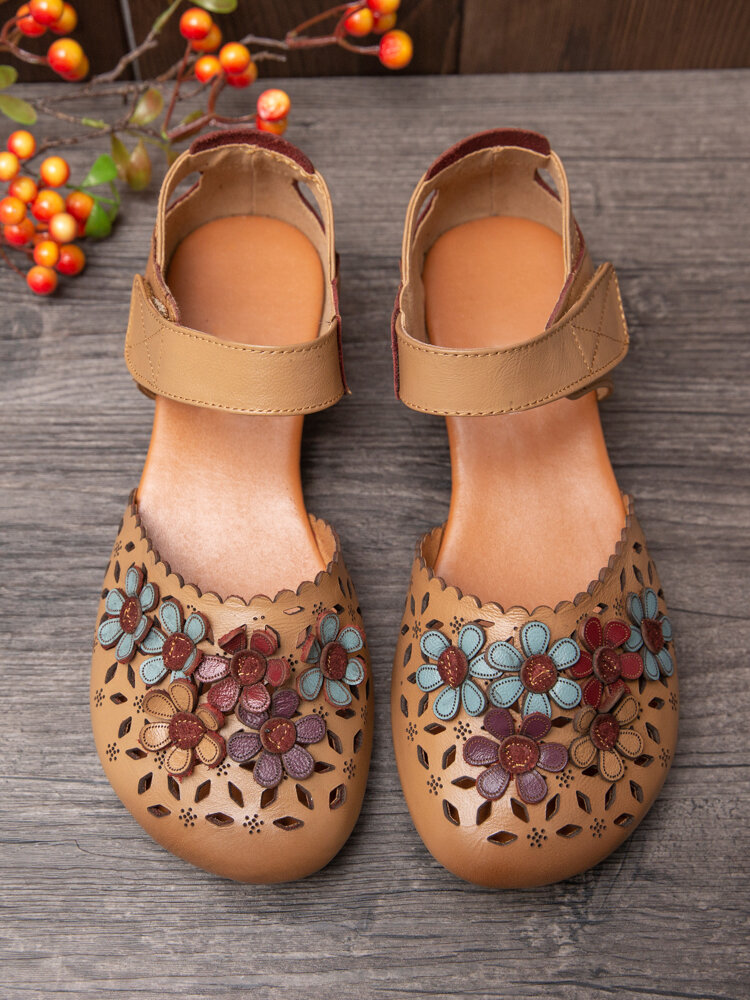SOCOFY Colorful Flowers Decor Hollow Out Cowhide Leather Breathabel Non Slip Hook Loop Casual Shoes Flats