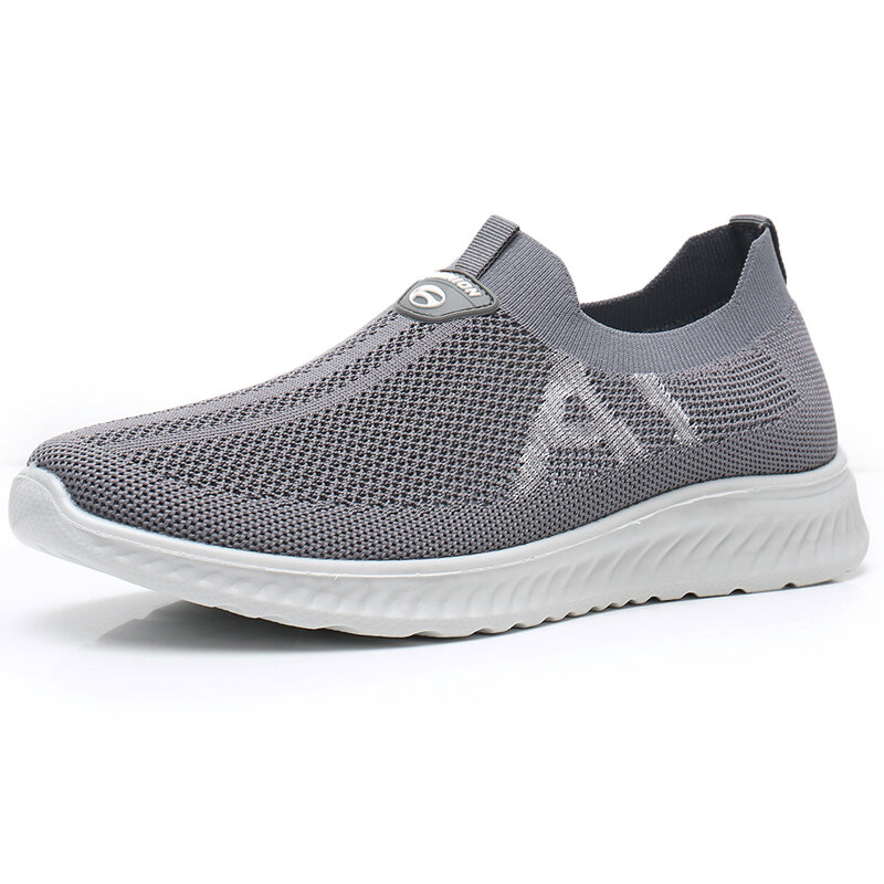 Men Sports Knitted Fabric Breathable Slip On Casual Walking Shoes, newchic  - buy with discount