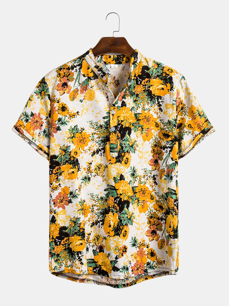 Mens Vacation Style Tropical Floral Printed Stand Collar Short Sleeve Henley Shirt
