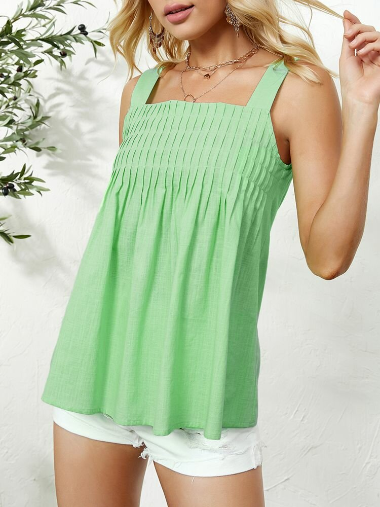 Solid Color Pleated Square Collar Holiday Women Tank Tops