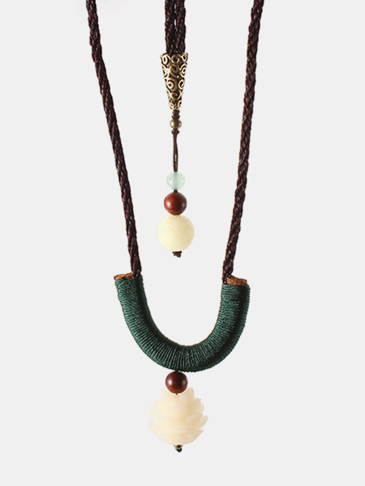 Ethnic Style Jewelry Vintage Dongling Jade Bodhi Lotus Woven Necklace