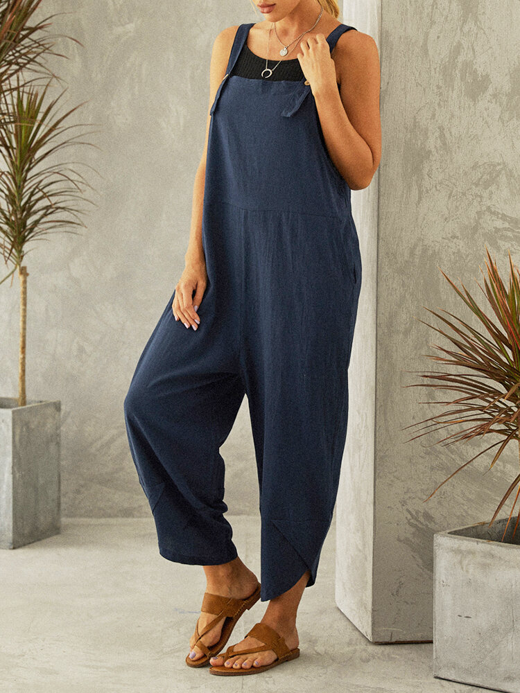Casual Solid Color Straps Plus Size Jumpsuits with Pockets