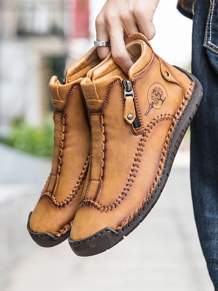 Men Stylish Side Zipper Hand Stitching Microfiber Leather Casual Ankle Boots