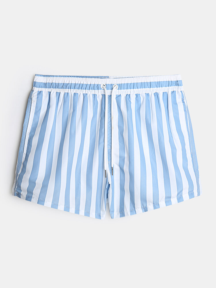 Mens Classic Stripe Swim Trunks Beach Running Holiday Quick Dry Board Shorts With Mesh Liner