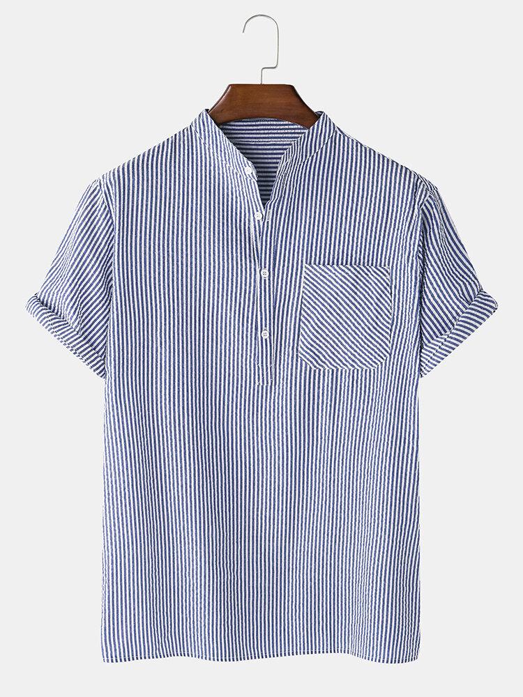 メンズコットンバブルピットストライプチェストポケットスタンドカラーカジュアルヘンリーシャツ