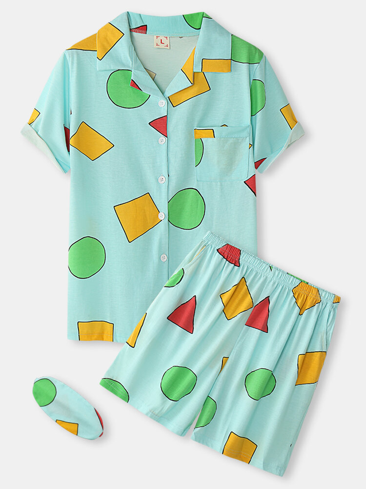 Plus Size Women Geometry Print Revere Collar Pajamas Sets With Eye Cover