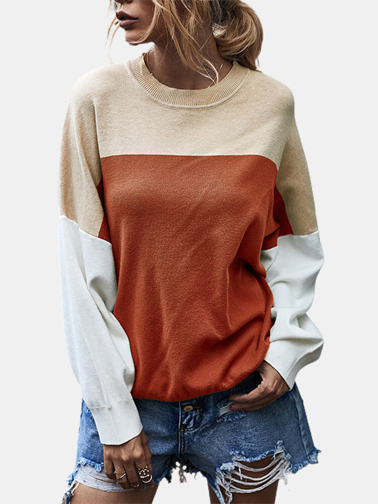 Contrast Color Patchwork Long Sleeves O-neck Pullover Sweater For Women
