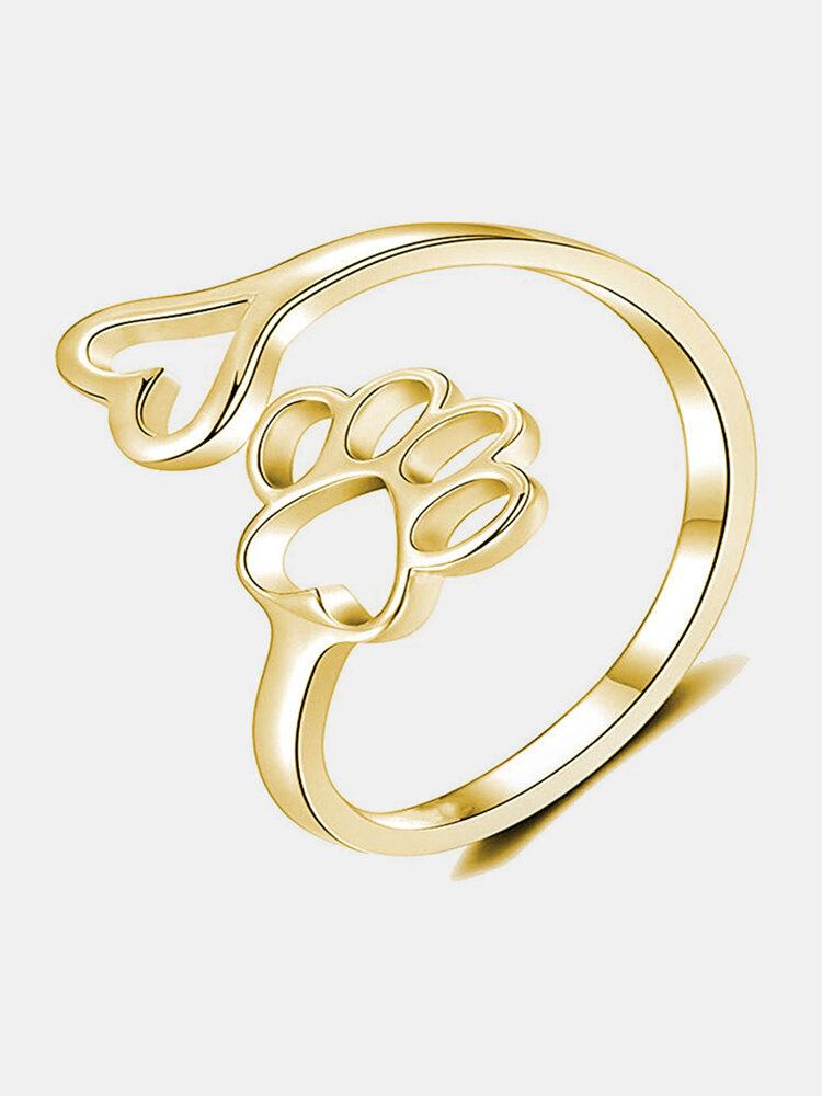 Vintage Alloy Copper Dog Footprint Love Heart Open Hollow Ring Love Footprint Ring