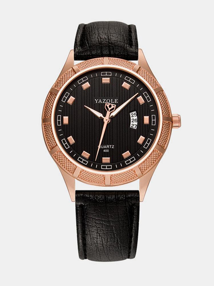 YAZOLE Business Fashion Casual Watch Waterproof Leather Luminous Hand Wristwatch for Men's Gift