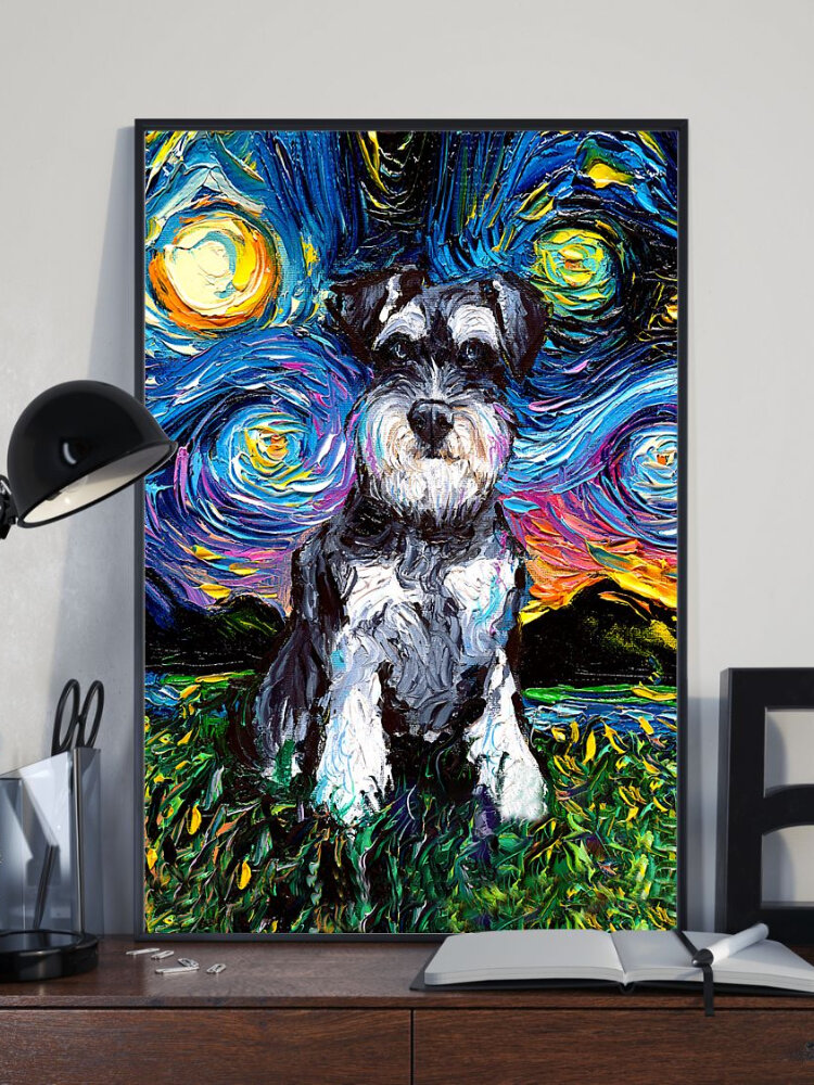 Dog And Sky Unframed Abstract Oil Painting Canvas Wall Art Living Room Home Decor