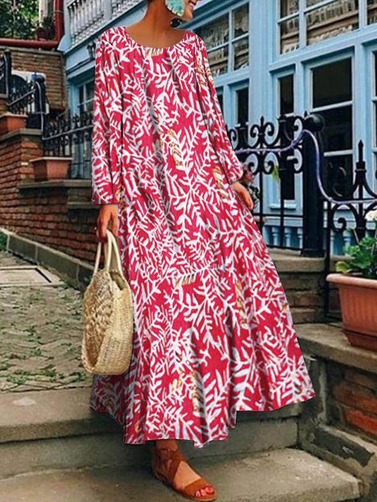 Leaves Print Long Sleeve Casual Plus Size Maxi Dress