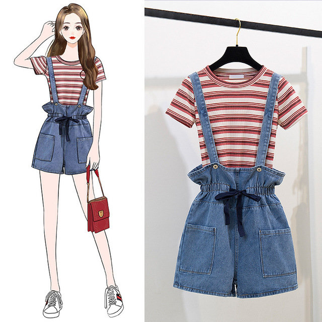 New_College_Wind_Casual_Slim_Knit_Cotton_Striped_Shirt_Tshirt__Strap_Shorts_High_Waist_Suit_Women
