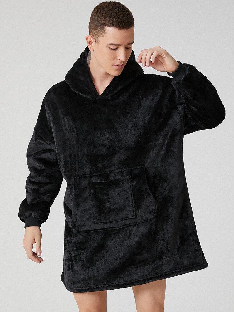 Men Thicken Warm Home Blanket Hoodies Oversized Sweatshirt With Double Handy Pocket