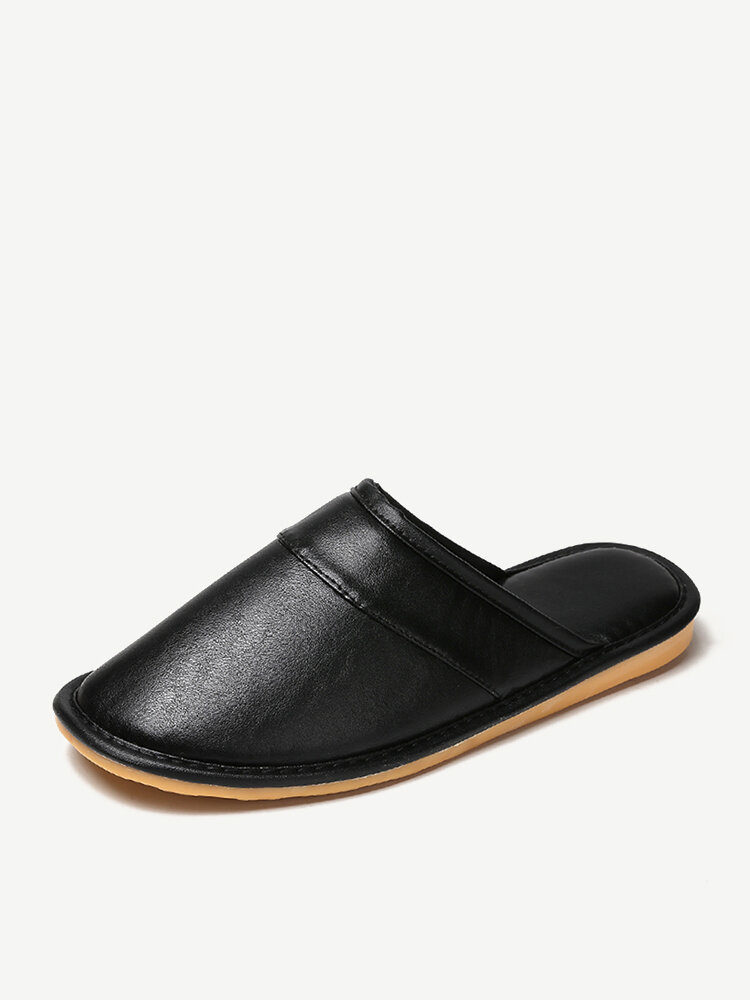Men Plush Lining Non Slip Soft Sole Casual Leather Slippers