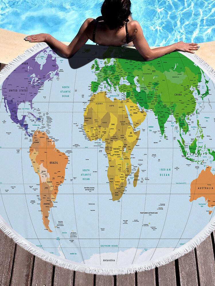 Mapa del mundo impreso redondo grande Playa Toalla Yoga Alfombrilla de microfibra con borlas de felpa gruesa Playa Toallas