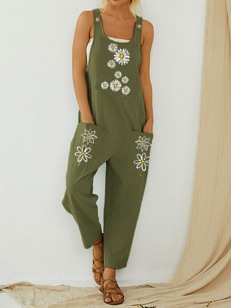 Daisy Flower Print Straps Pockets Casual Jumpsuit For Women