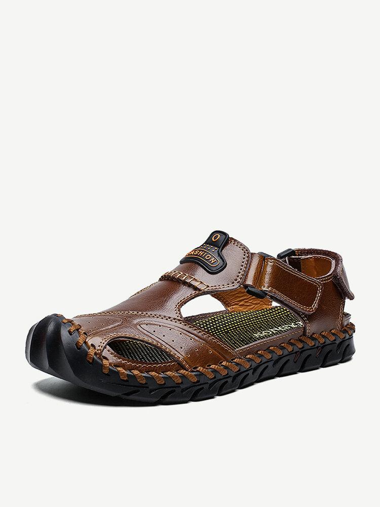 Men Hand Stitching Leather Anti-collision Non Slip Soft Sole Casual Sandals