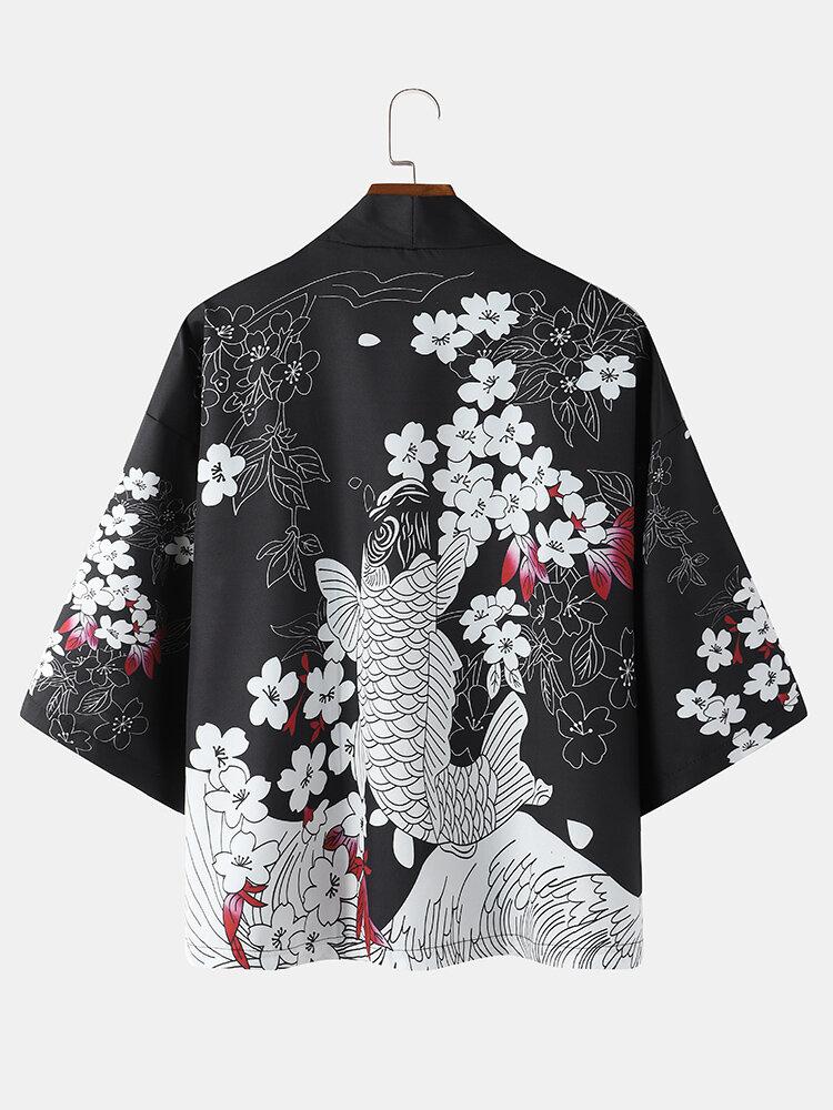 Mens Cherry Blossoms & Carp Print Open Front Japanese Style Loose Kimono
