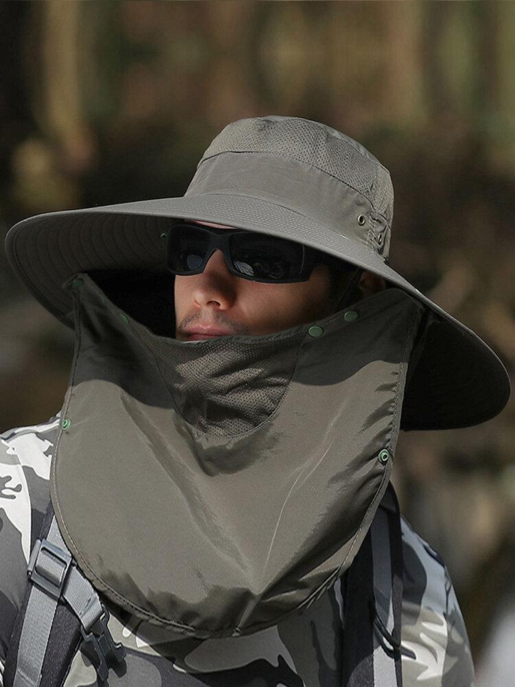Hat Men Sunscreen Fishing Sun Hat Men Outdoor Climbing Sun Hat Cover Face Big Brim Fishing Fisherman Hat, Khaki;dark grey;army green;light grey