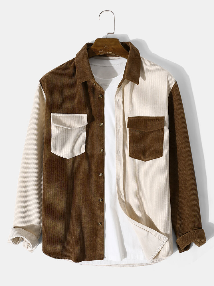 Mens Two Tone Patchwork Corduroy Long Sleeve Shirts With Flap Pocket