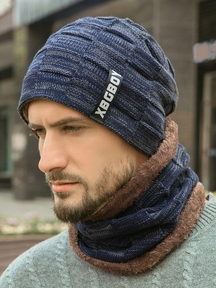 قبعة رجالية محبوكة مع قبعة صغيرة من الصوف المخمل المبطّن