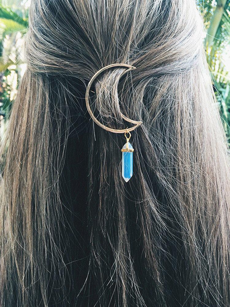 Barrette charmant en forme de lune creuse avec pendentif en pierre naturelle colorée accessoire des cheveux pour femme