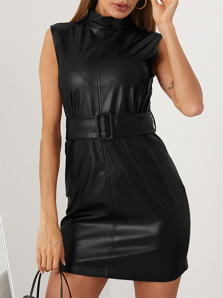 Solid Color Sleeveless Pocket Sexy Dress With Belt For Women