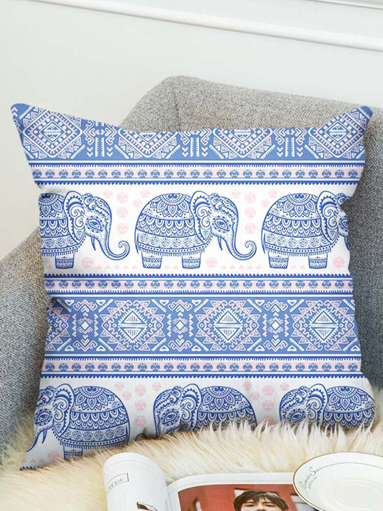 3D Bohemian Style Elephant Double-sided Printing Cushion Cover Linen Cotton Throw Pillowcase Home