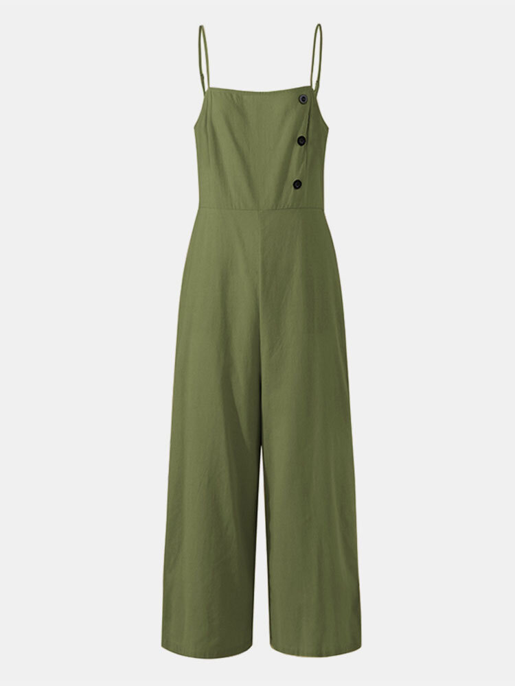 Solid Color Button Pocket Zipper Strap Sleeveless Loose Casual Jumpsuit