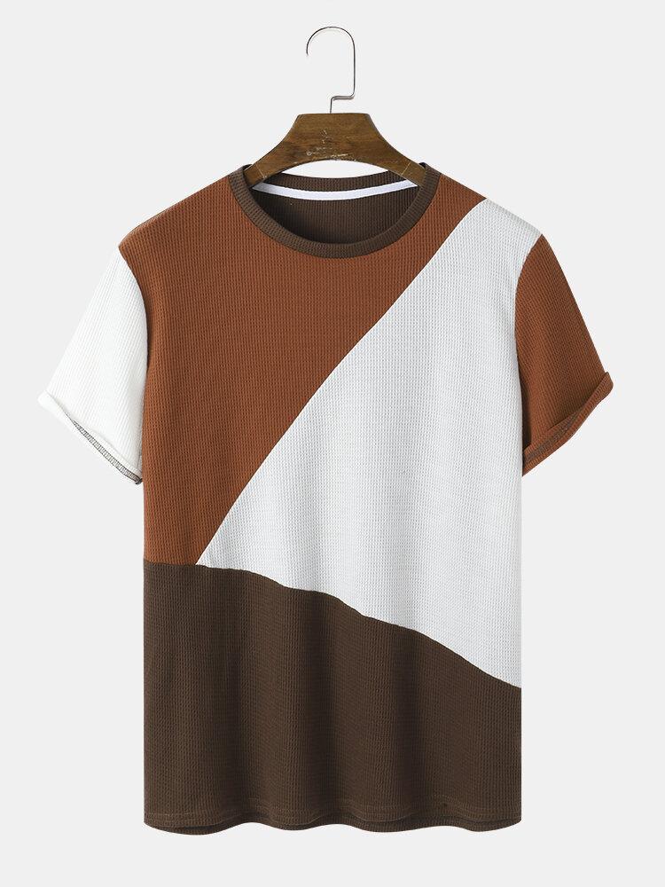 Mens Waffle Color Block Patchwork Preppy Short Sleeve T-Shirts