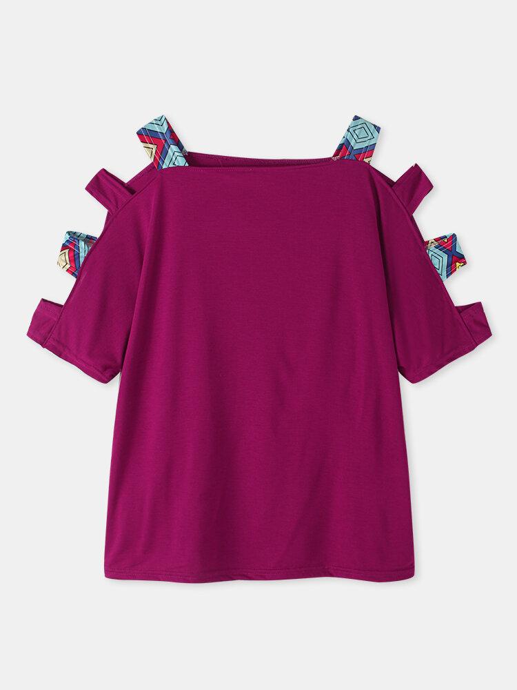 Hollow Off Shoulder Short Sleeve Casual T-Shirt For Women